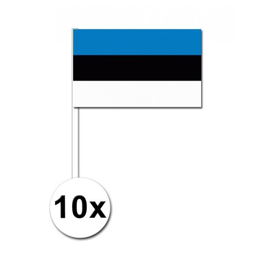 10 zwaaivlaggetjes Estland 12 x 24 cm