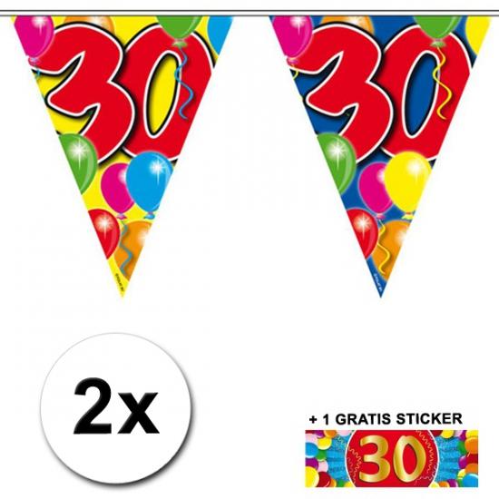 2x vlaggenlijn 30 jaar met gratis sticker