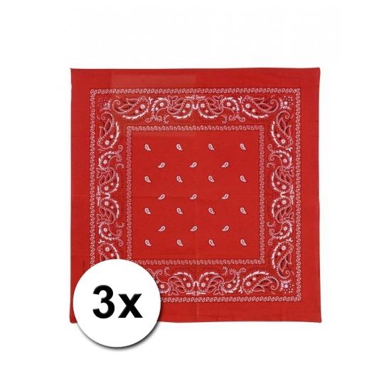 3 rode boeren zakdoeken 50 x 50 cm