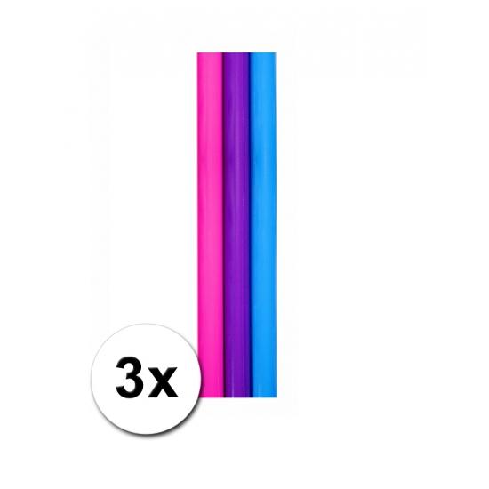 3 rollen kado inpakpapier blauw, paars en roze