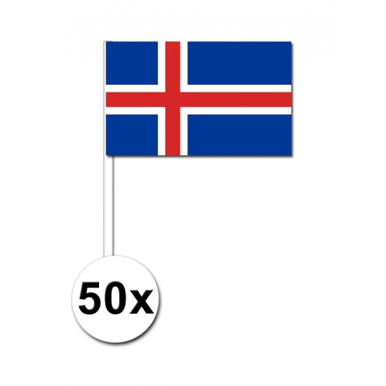 50 IJslandse zwaaivlaggetjes 12 x 24 cm
