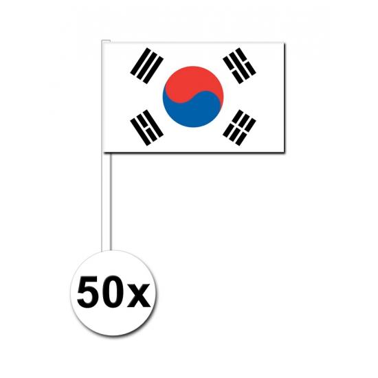 50 Zuid Koreaanse zwaaivlaggetjes 12 x 24 cm