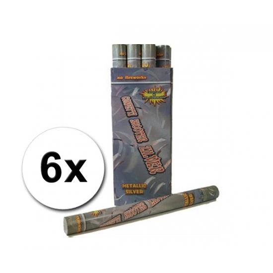 6 confetti shooters 60 cm zilver