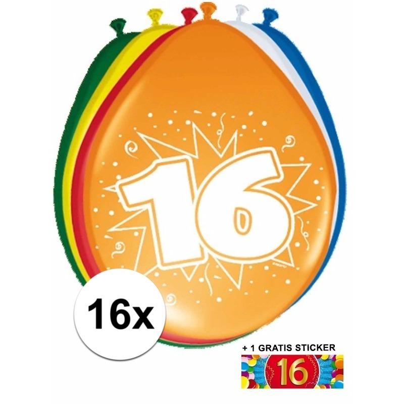 Ballonnen 16 jaar van 30 cm 16 stuks + gratis sticker