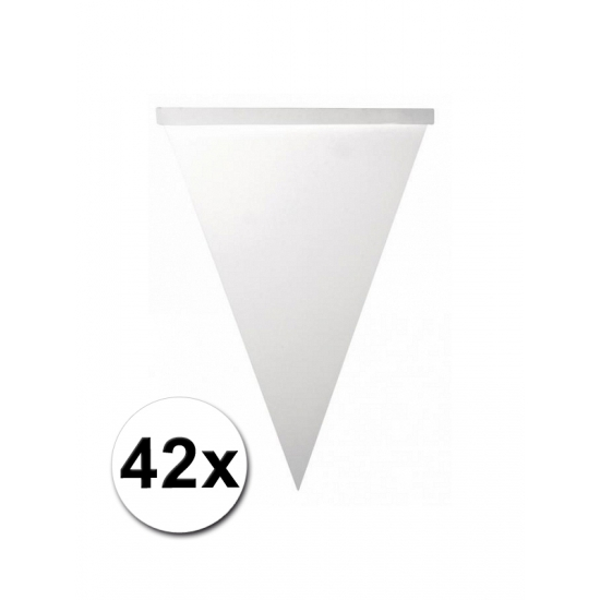 Blanco vlaggenlijn vlaggetjes 42 stuks