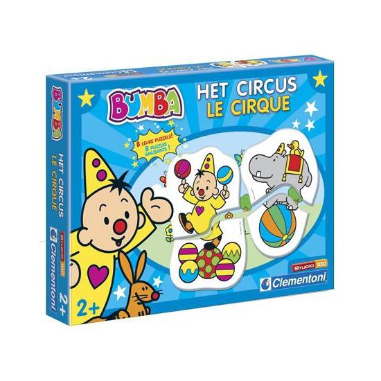 Bumba leerpuzzel het circus. 8 educatieve bumba puzzels van 2 stukjes met plaatjes van bumba in het circus. ...