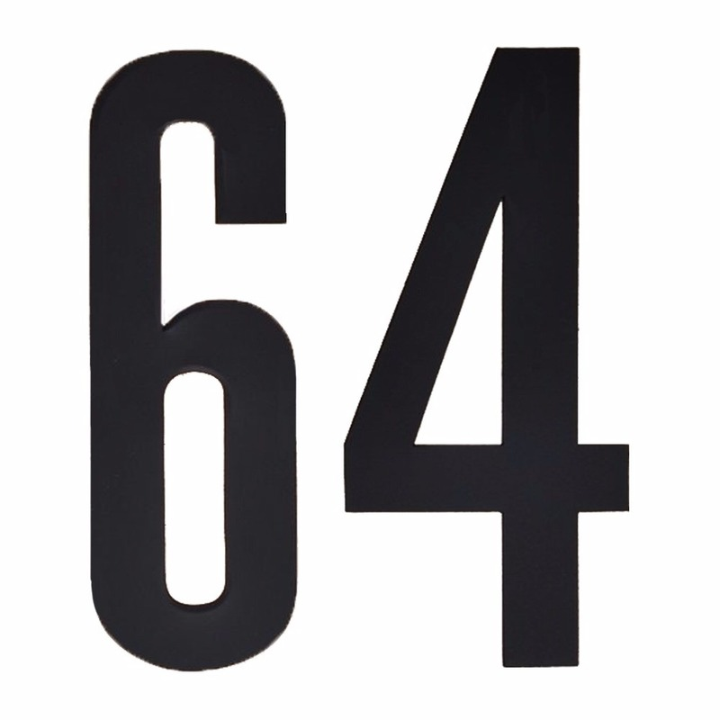 Cijfer sticker 64 zwart 10 cm