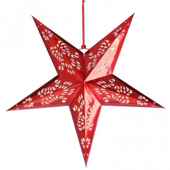 Decoratie ster lampion rood