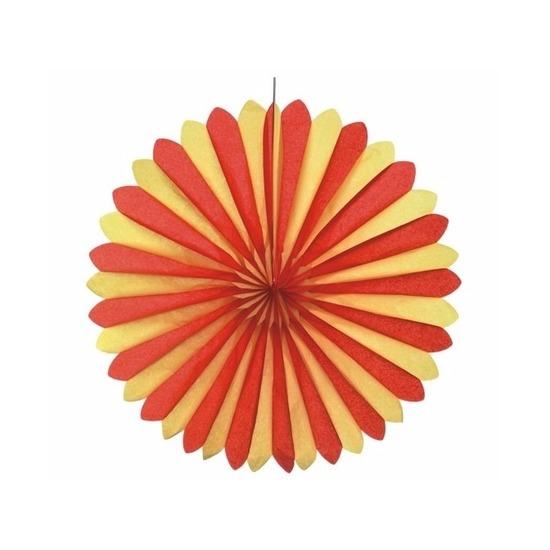 Decoratie waaier rood-geel 60 cm