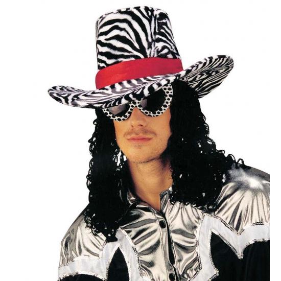 Funky Zebra Print Hoed Met Haar Bellatio kopen