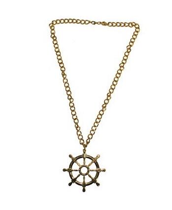 Gouden matroos ketting met roer. goudkleurige ketting voor bij een matrozen outfit, met een scheepsroer als ...