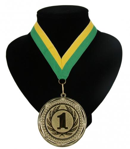 Kampioensmedaille nr. 1 aan geel en groen lint