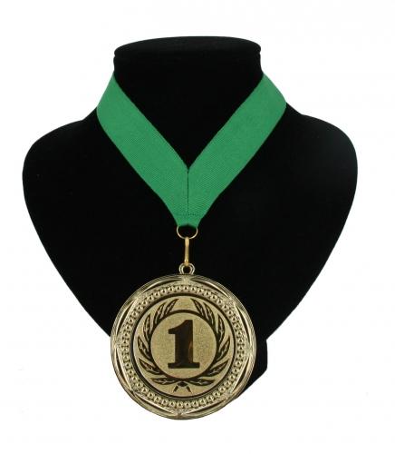 Kampioensmedaille nr. 1 aan groen lint