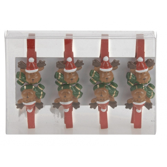 Kerstknijpers rendier 8 stuks. dit setje bevat 8 houten knijpers met een rendier. het formaat van de knijpers ...