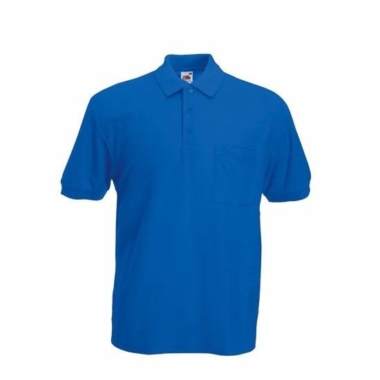 Kobaltblauw poloshirt korte mouw voor heren