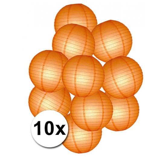 Oranje lampionnen pakket 10 stuks