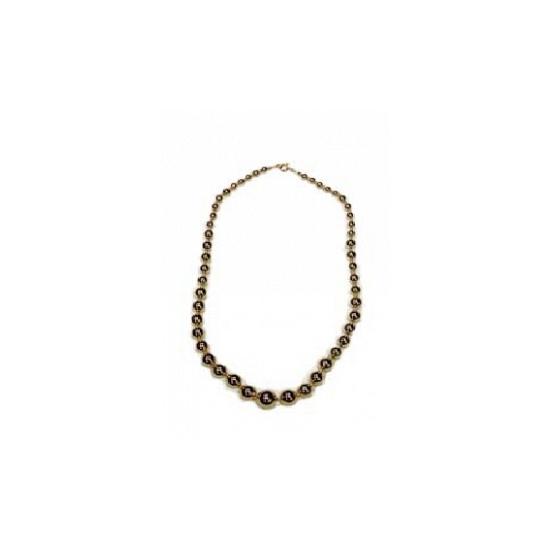 Parel ketting goud. goudkleurige parelketting, ongeveer 60 cm.