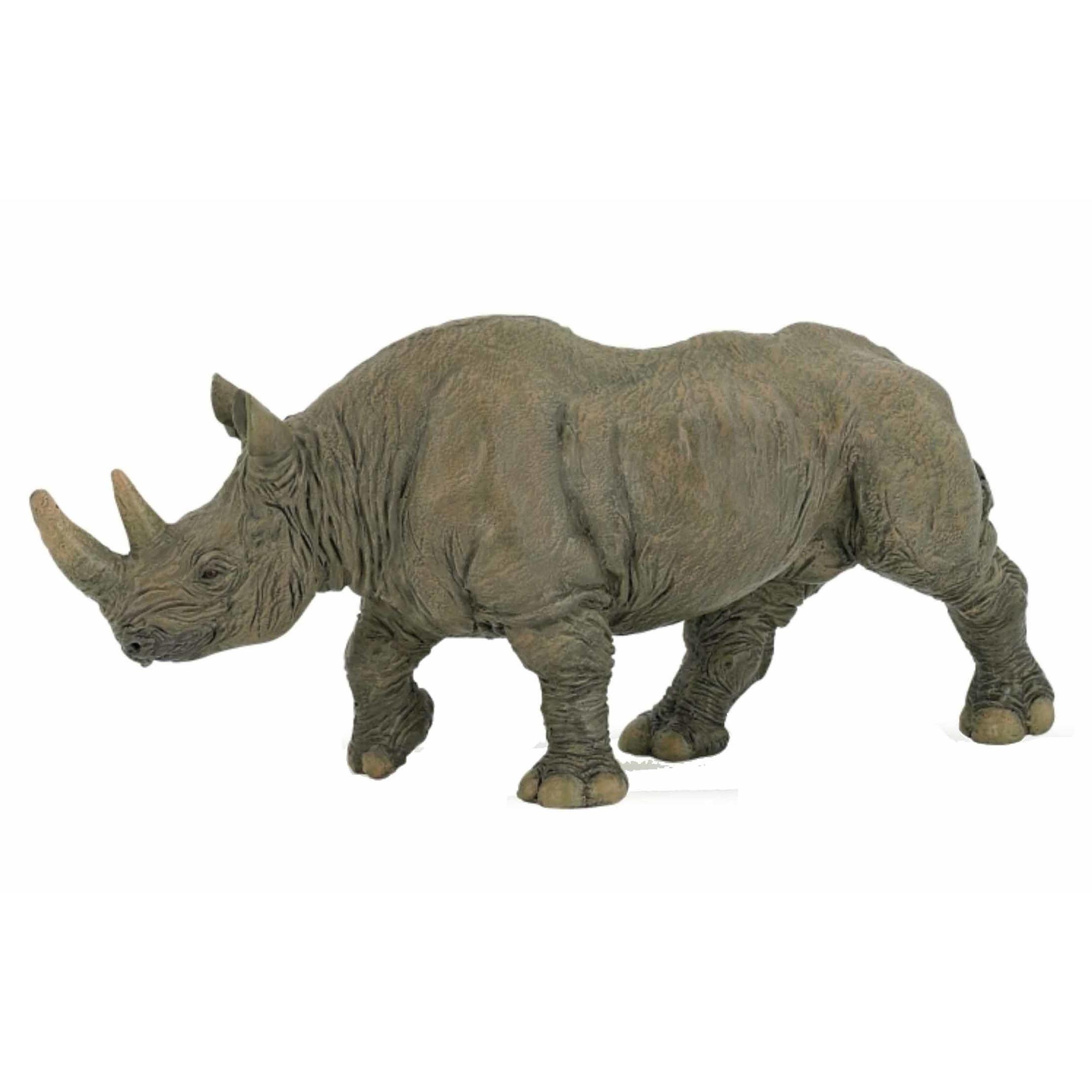 Plastic speelgoed zwarte neushoorn 5 cm