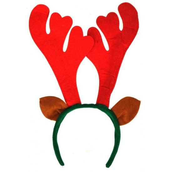 Rendier diadeem met oren. kerst diadeem van vilt met een groene haarband, bruine oren en een rood gewei....
