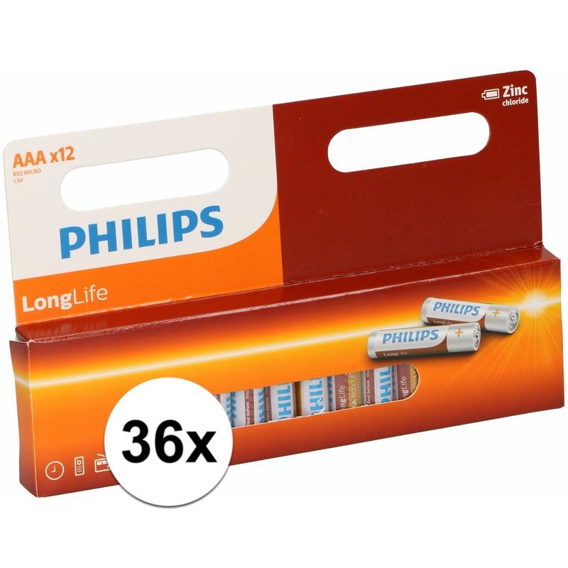 Voordeel pakket met 36 Philips long life AAA batterijen