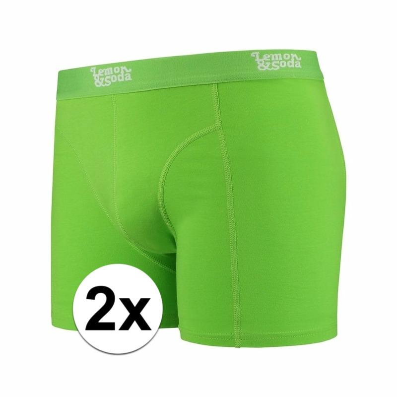 Voordelige groene boxershorts 2-pak Lemon and Soda