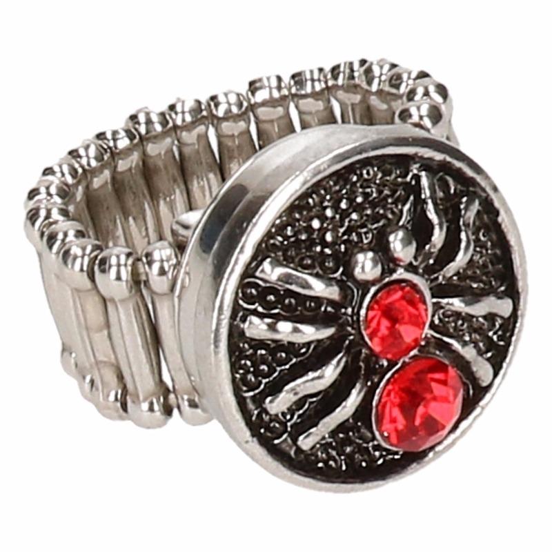 Zilveren heksen ring rood voor volwassenen
