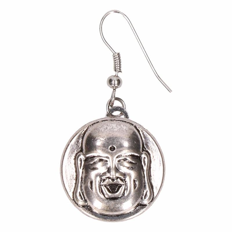 Zilveren oorbellen met boeddha chunk