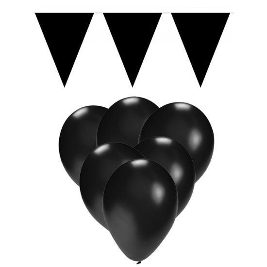 Zwarte versiering 15 ballonnen en 2 vlaggenlijnen