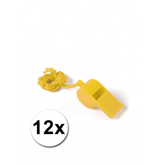 12 gele fluitjes aan koord