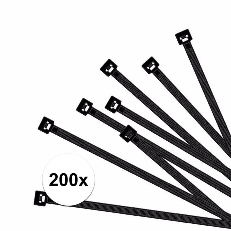 200x Kabelbinders zwart 100 x 2,5 mm