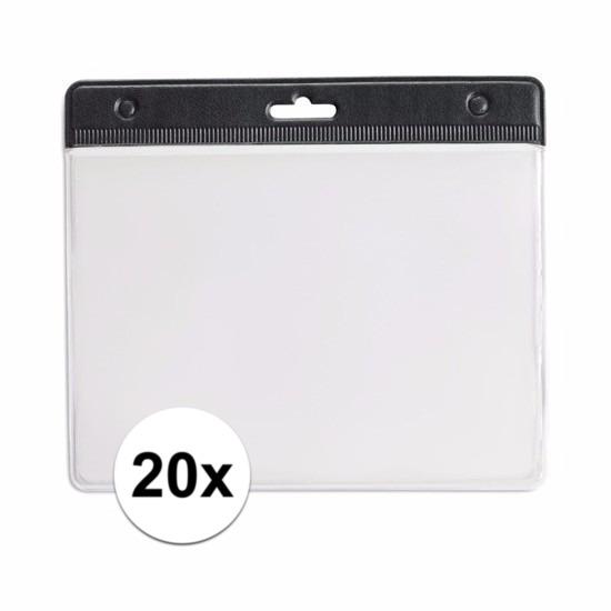 20x Badgehouder zwart 11,5 x 9,5 cm