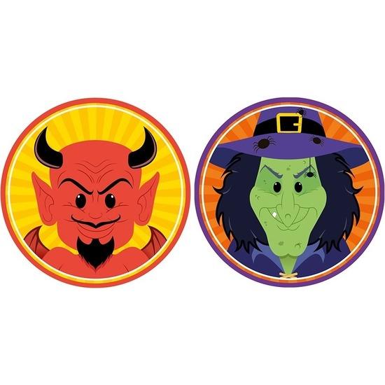 20x Halloween onderzetters duivel en heks