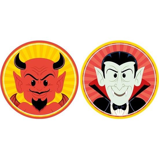 20x Halloween onderzetters duivel en vampier/Dracula