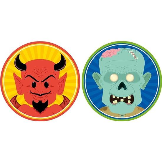 20x Halloween onderzetters duivel en zombie