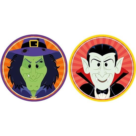 20x Halloween onderzetters heks en vampier/Dracula