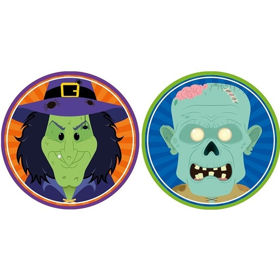 20x Halloween onderzetters heks en zombie