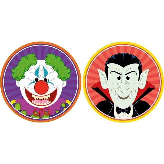 20x Halloween onderzetters horror clown en vampier/Dracula