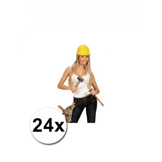 24 PVC bouwhelmen geel