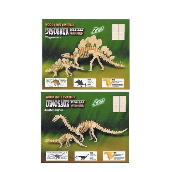 2x Houten bouwpakket van 2x een Apatosaurus en 2x Stegosaurus
