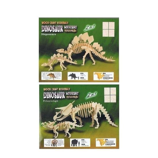 2x Houten bouwpakket van 2x een Triceratops en 2x Stegosaurus