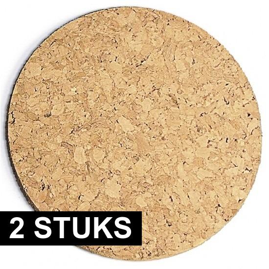 Rayher hobby materialen 2x Kurk pannen onderzetters dik 20 cm Bruin