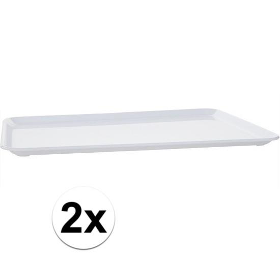 2x Plat dienblad wit kunststof 35 x 24 cm Wit