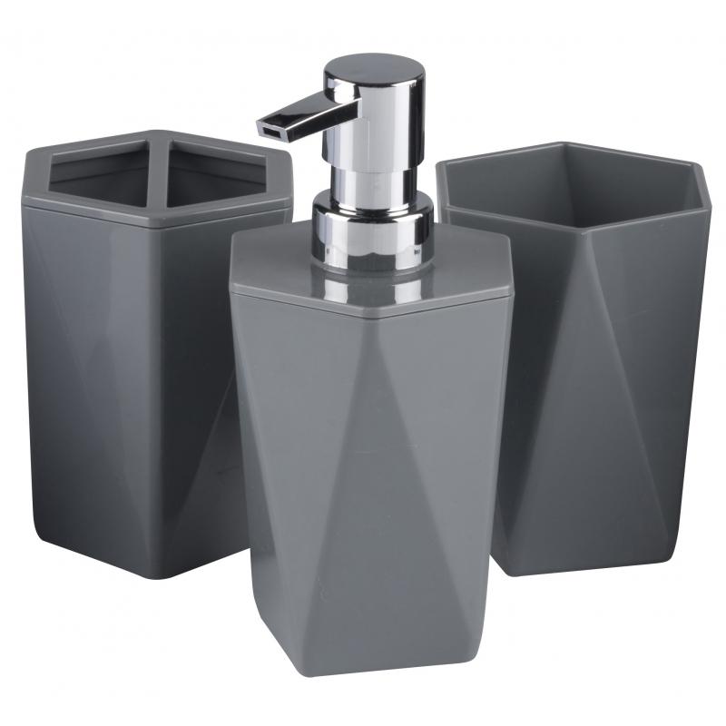 3 delige badkamer set grijs 25 cm