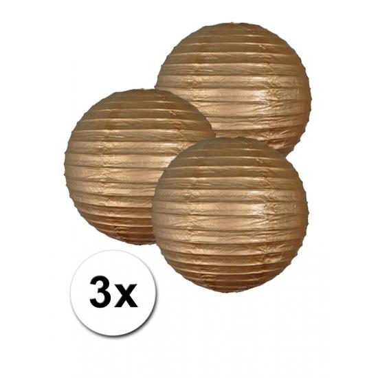 3 gouden lampionnen 25 cm