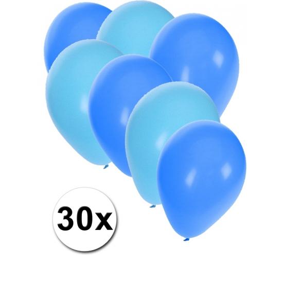 30x ballonnen lichtblauw en blauw