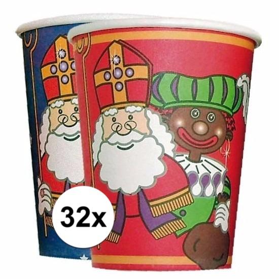 32x kartonnen Sinterklaas bekers