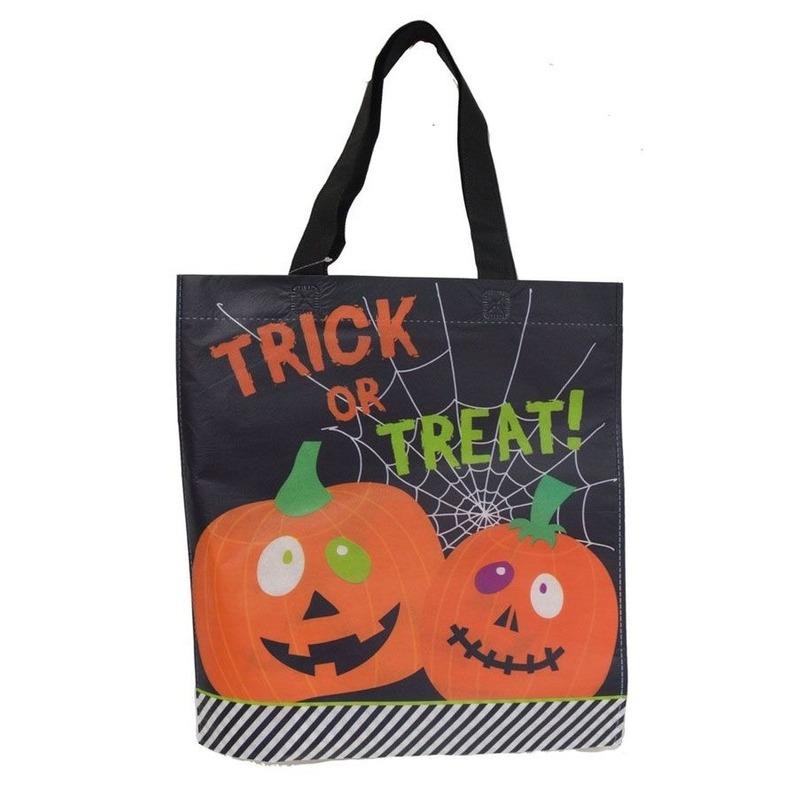 3x Halloween tas voor snoep zwart