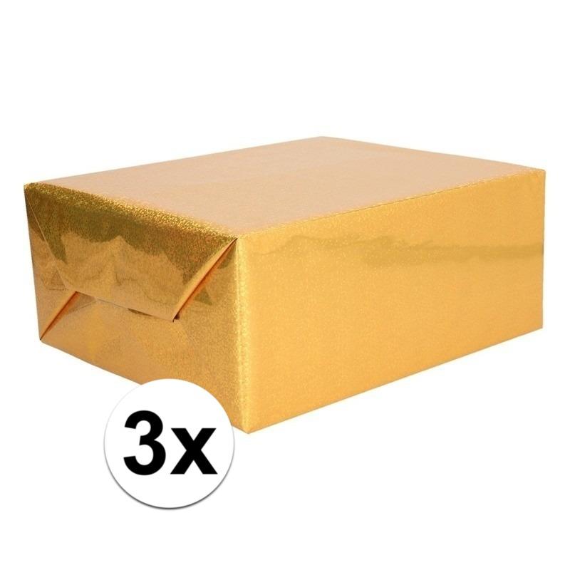 3x Holografische goud metallic hobbyfolie 70 x 150 cm