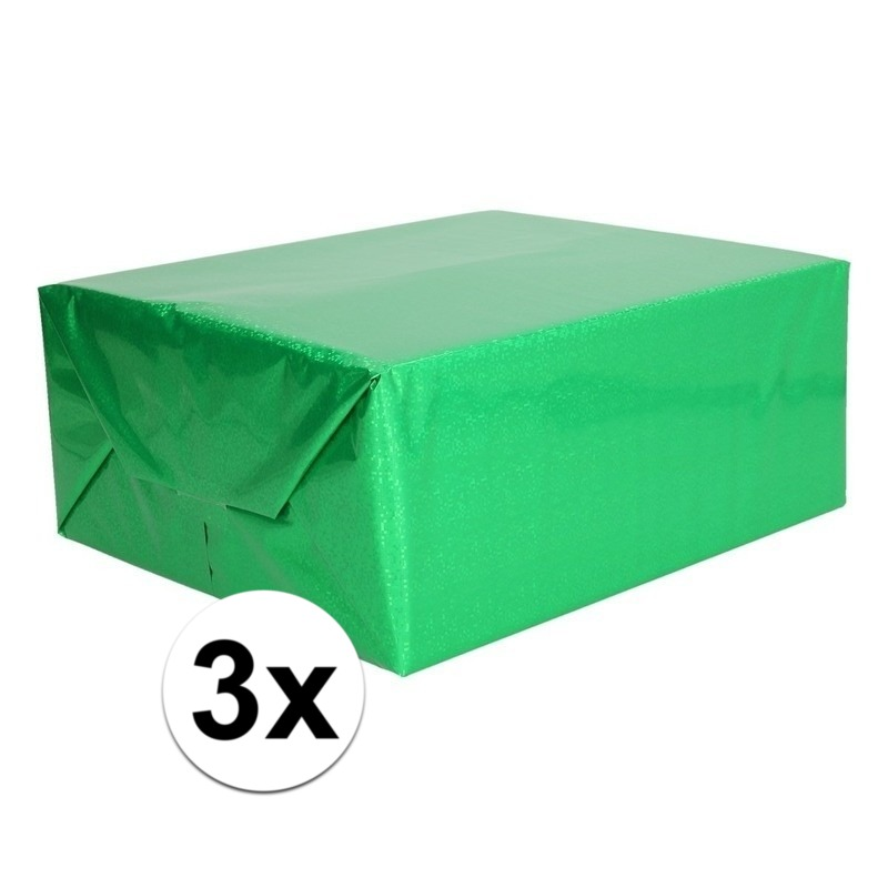 3x Holografische groen metallic hobbyfolie 70 x 150 cm
