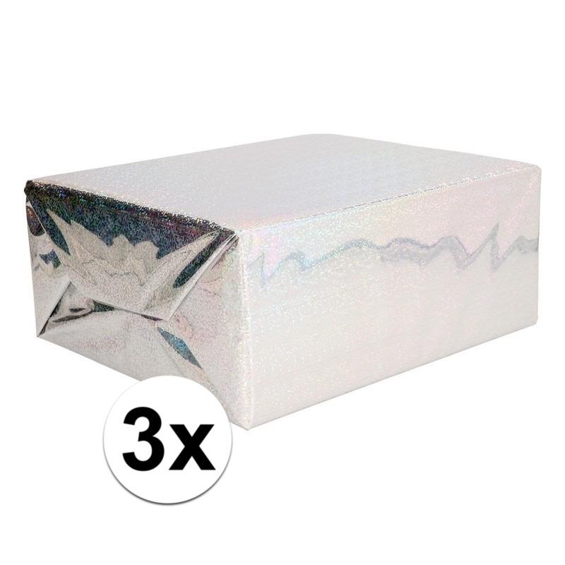 3x Holografische zilver metallic hobbyfolie 70 x 150 cm